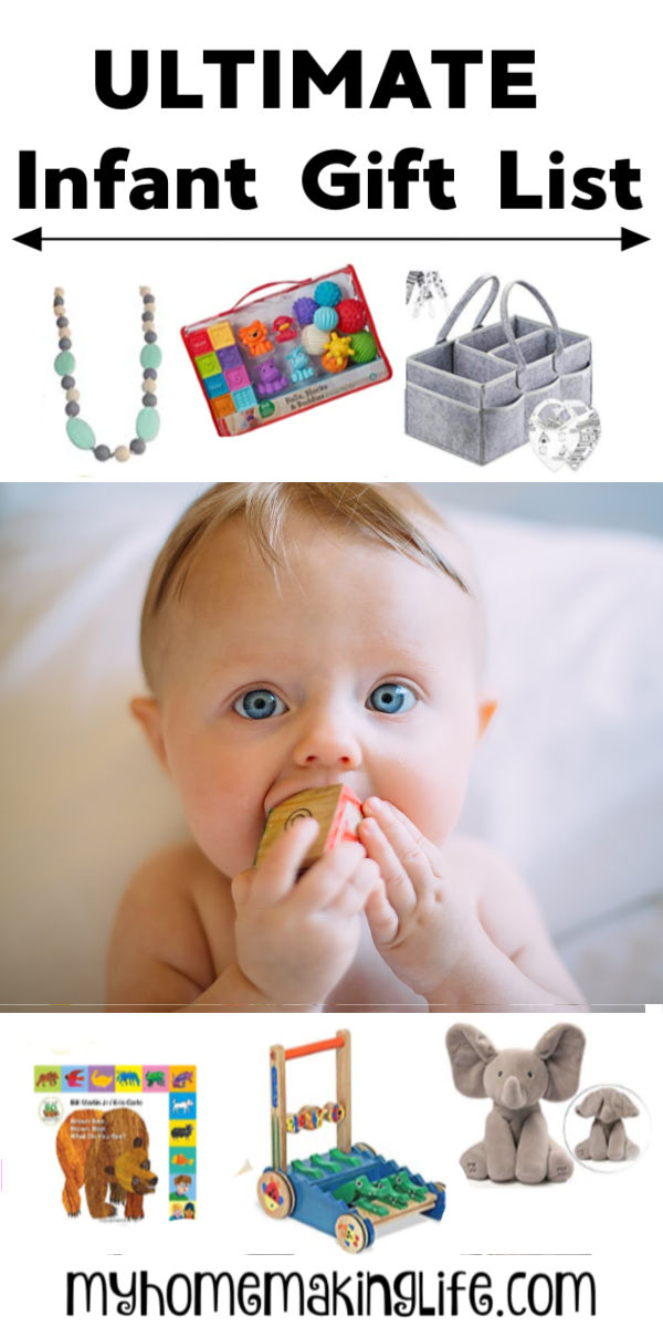 This Infant Gift Guide lays out the best of the best baby gifts for any occasion. Whether it be a baby shower, Christmas, first birthday, or just because, you will find the perfect gift for the infant in your life! #baby #babygifts